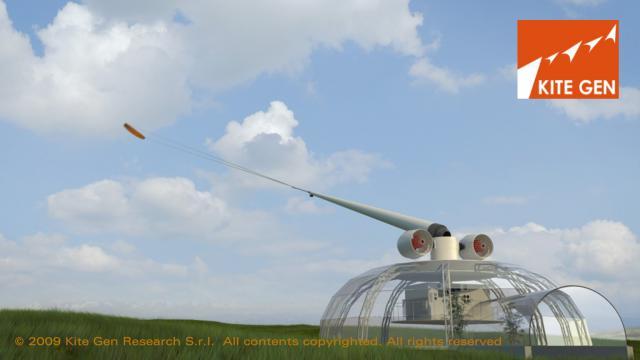L'impianto Kite Gen � formato da una cupola in vetro dalla quale parte un braccio mobile lungo circa 25 metri, dall'aspetto simile a quello di una canna da pesca. Al braccio � attaccata con due cavi sottili una vela come quelle da kite surf che due ventole lanciano in aria (foto da Kitegen.it)