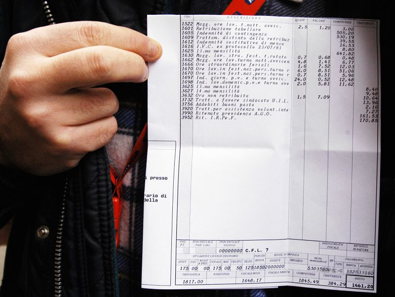 L'ultima cifra, in basso a destra, indica in ogni busta paga la retribuzione netta di quel dato mese