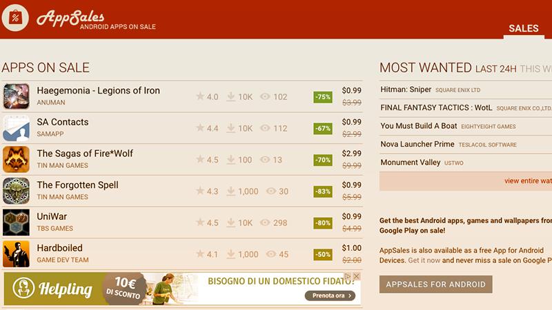 3. AppSales è l'app gratis per Android che permette di ricevere notifiche su app gratis o scontate