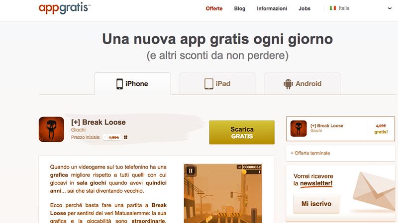 2. Appgratis è un'applicazione per Android e per iOS che segnala quotidianamente app gratis e app scontate