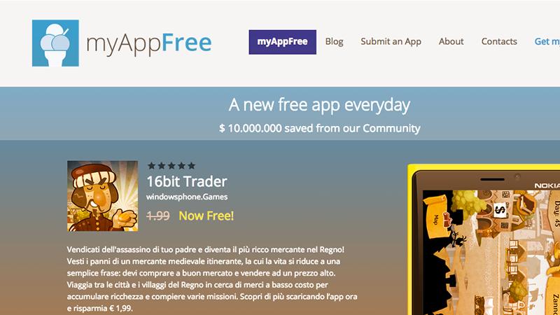 4. MyAppFree, applicazione per Windows Mobile, mostra nome e descrizione dell'app del giorno in regalo, il prezzo originale e la quantità di tempo rimasto prima che scada l'offerta.
