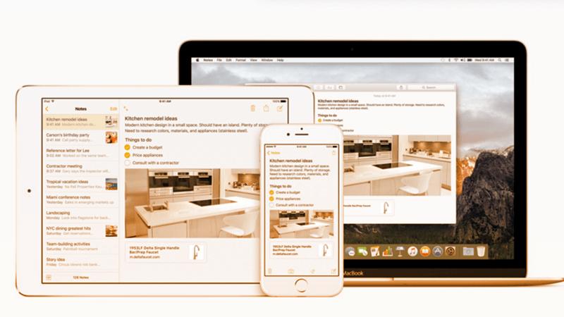 4. L'app Note ha subito una notevole evoluzione introducendo la possibilità di inserire immagini, mappe, link. Fonte: apple.com/it