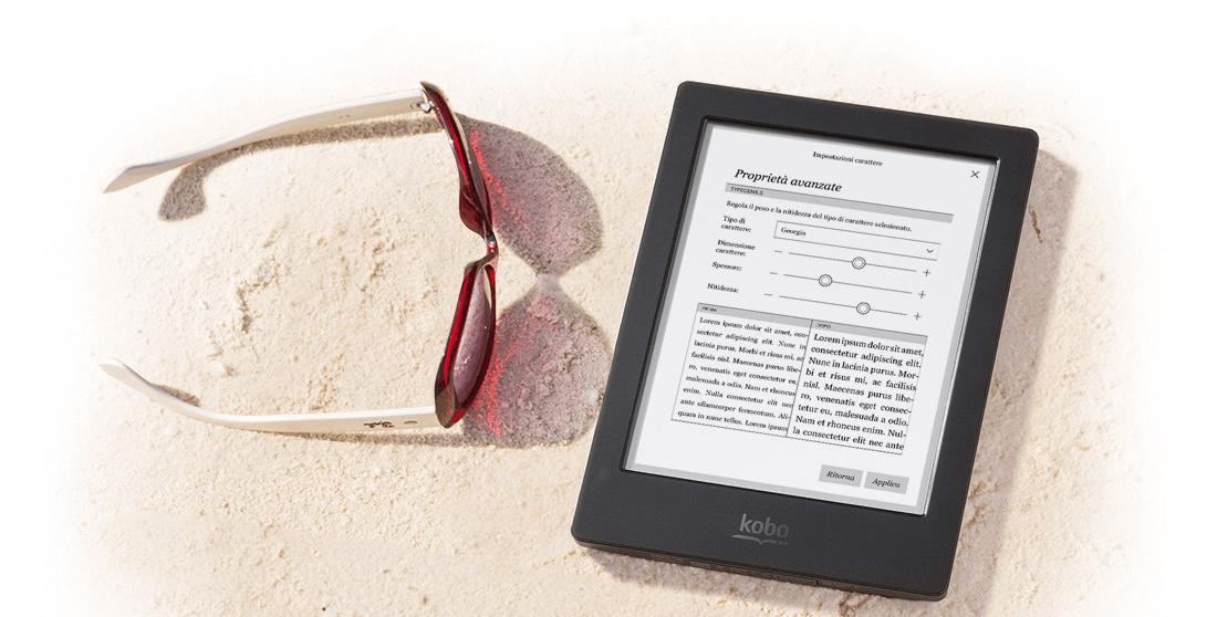 Ideale per l'estate e la spiaggia, Kobo Aura H2O è waterproof e si legge anche al buio.