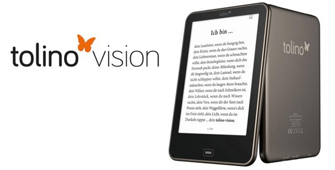 Tolino Vision 2, con tecnologia Tap2Flip per voltare pagina con un tocco sul retro del dispositivo.
